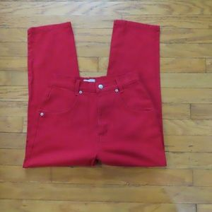 Red High Waist Jeans By French Dressing